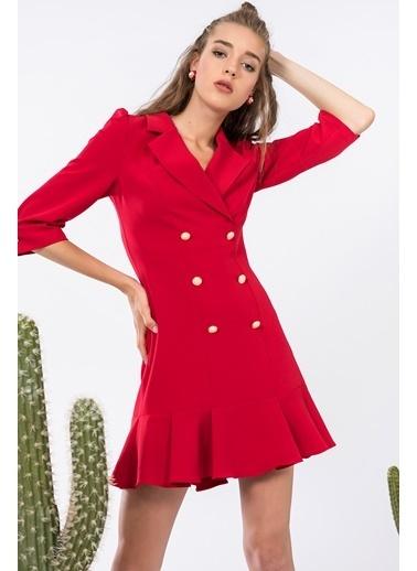 İroni Mini Ceket Elbise Kırmızı